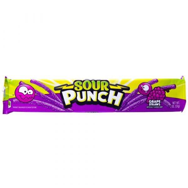 Sour Punch Straws Grape 2oz 2